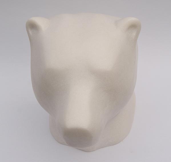 IJsbeer, portret, marmer, 25 cm hoog
