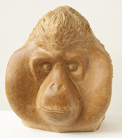 Orang-oetan, portret, 40cm hoog, Pakistaanse kalksteen