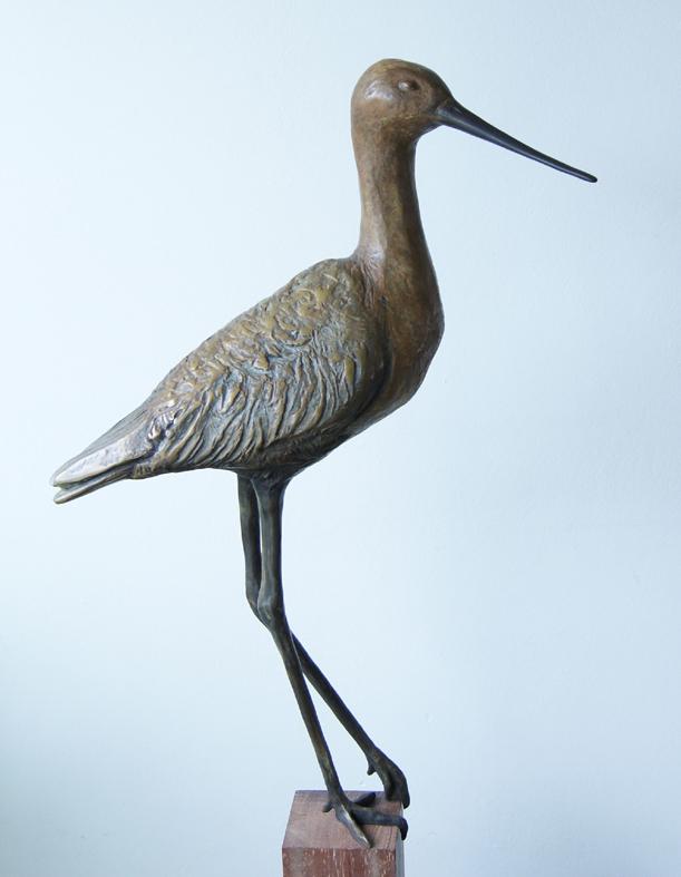 Black-tailed gotwit, bronze, oplage 8 , 65cm h