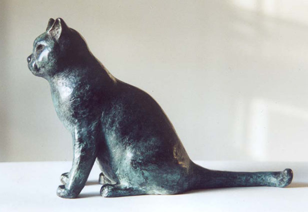 Cat, British Blue, bronze, 14cm h, commission
