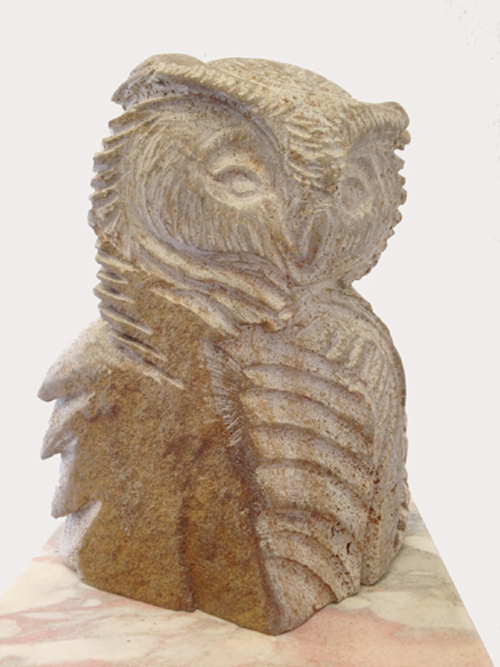 Owl, Portait, Muschelkalk stone, 30cm h